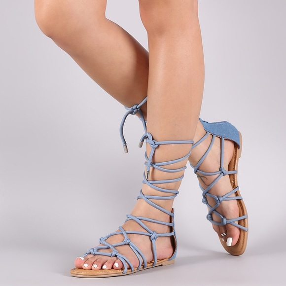 873adc66bf54b Qupid Shoes | Light Blue Denim Knotted Lace Up Sandals | Poshmark